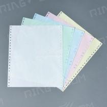 【倫特】電腦連續報表紙 9.5×11×5P‧白綠藍紅黃‧雙切‧全頁‧中一刀‧80行‧A4